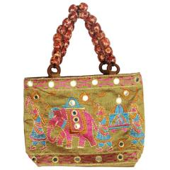 Traditional Indian Women's Silk Hand Bag with fancy beads, Green color ( bag02c bag02d)