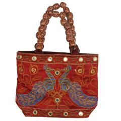 Purpledip traditional Indian Women's Silk Hand Bag with fancy beads