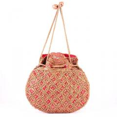 Potli Bag For Women: Intricate Gold Thread & Sequin Embroidery Work (10673)