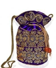 Raditional Silk Potli bag for Women,Purple (10532)
