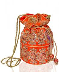 Traditional Silk Potli bag for Women,Orange color (10533)
