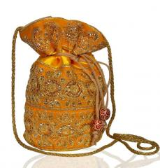 Traditional Silk Potli bag for Women,Yellow Color (10534)