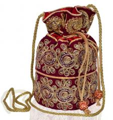 Traditional Silk Potli bag for Women,Maroon (10535)
