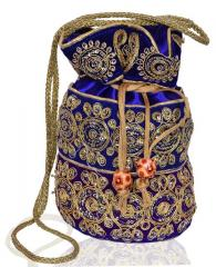 Traditional Silk Potli bag for Women,Blue (10536)