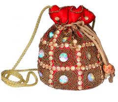 Potli Bag For Women With Intricate Gold Thread & Sequin Embroidery Work (10675)