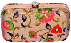 Women's Clutch Purse with Traditional Indian Embroidery in Vibrant Colours to Carry Money, Cards, Mobile Phone (10348)