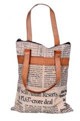 Designer Tote Bag for Women in Canvas-Leather: International Style with Newspaper Pattern (10309)