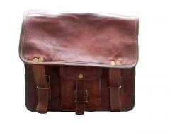 Messenger Leather Bag - Half Flap Satchel for