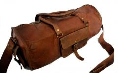 Duffel Bag (100% Authentic Leather) - Round Athletic Style (10305)