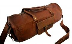 Duffel Bag (100% Authentic Leather) - Round Athletic Style for Travel, Sports, Gym or Outdoors in Vintage Brown Finish (lbag08)