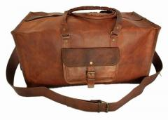 Duffel Bag (100% Authentic Leather) - Robust Square Format for Travel, Sports, Gym or Outdoors in Vintage Brown Finish (lbag09)