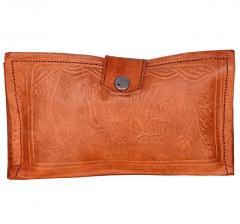 Women's Wallet or Purse: Made of Naturally Treated Leather in Vintage Brown Finish with Embossed Design (10312)