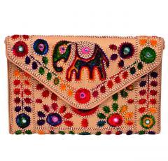 Rich Indian Handwork with Elephant Motifs Cotton Handbags