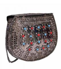 Ladies Clutch Made of White Metal and Beads (10621)