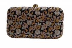 Women's Gold embroidery Clutch Black(10269)