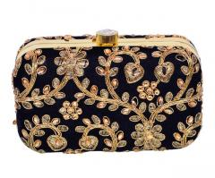 Women's Black Party Clutch Purse With Traditional Embroidery In Gold (10695)