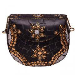 Black Fancy Brass Metallic Party Clutch Purse with Colorful Mosaic Stonework (10599)