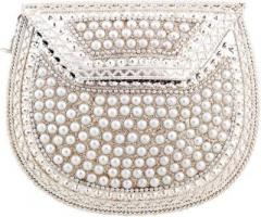 Metal clutch with beads for parties, evening (10190)