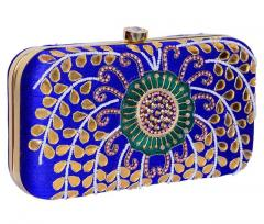 Women's Clutch Purse with Traditional Indian Embroidery in Peacock Colours