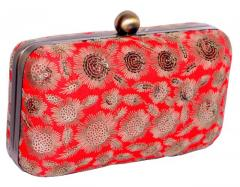 Women's Clutch Purse with Traditional Indian Embroidery in Orange Colours (10483)
