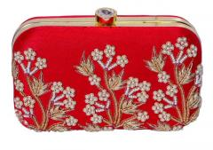 Women's Clutch Purse with Traditional Indian Embroidery in Red Colours (10484)