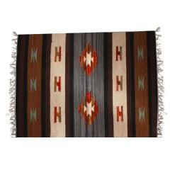 """All-Season Area Rug / Carpet / Dhurrie in Wool - """"Water Channels"""": Handwoven by master artisans in Medium Size (3 ft*2 ft or 6 Squre ft (10067h)"""