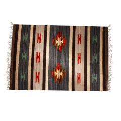 """All-Season Area Rug / Carpet / Dhurrie in Wool - """"Water Channels"""": Handwoven by master artisans in Medium Size (3 ft*2 ft or 6 Squre ft"""