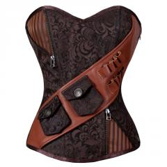 Yesfir Steampunk Overbust Corset Coffee Black