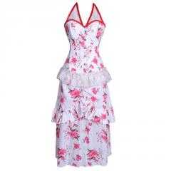 Autum Blossom Overbust Corset Dress
