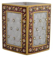 Marble Pen Holder/ Stationery holder with intricate cutwork design (10578)