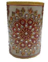 Marble Pen Holder/ Stationery holder, Tooth brush holder with handpainted floral designs (10562)