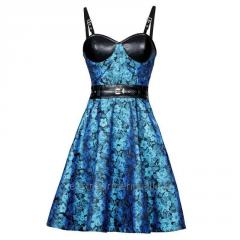 Lissandra Turquoise Black Bustier Dress