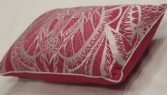 Susia White Red Embroidered Pillow