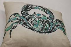 Crab Style Embroidered Cushion