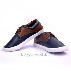 BLUE-TAN CANVAS SHOES