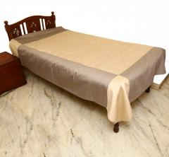 Brown-Grey embroidered Bed Cover