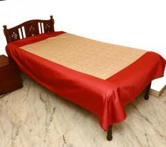 Red-Grey embroidered bed Cover