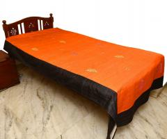 Orange-Black embroidered  Bed Cover