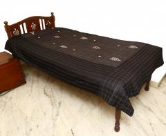 Embroidered Black Colour Bed Cover