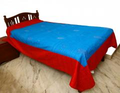 Blue-Red Embroidered bed Cover