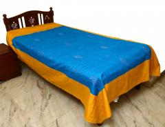 Blue-Orange Embroidered Bed Cover