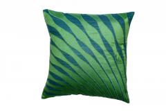 Peacock Feather Silk Embroidered Cushion Cover