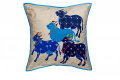 Nandi Sculpture work Blue cushion Cover