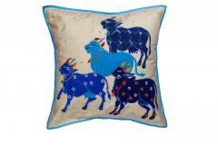 Nandi Sculpture work Blue cushion Cover