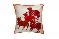 Nandi Sculpture work Red  cushion Cover