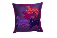 Nandi Sculpture work Purple cushion Cover