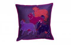Nandi Sculpture work Purple cushion Cover