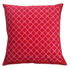 Jalli Pattern Red Cushion Cover