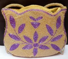 Brown Gold Beaded Ladies Purse