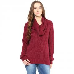 Marsala cowl cable knit sweater